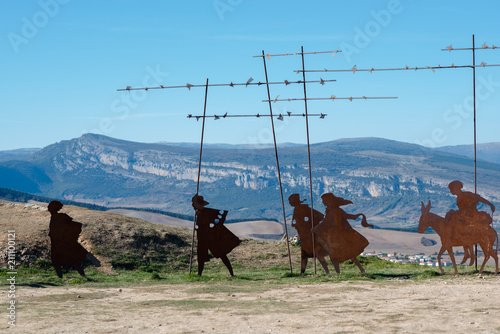 Way of Santiago. Camino de Santiago. Monument of pilgrims on mountain Perdon, near Pamplona, Navarra, Spain.