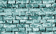 canvas print picture - Grungy weahered brick wall in cyan tone.