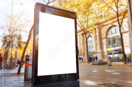Obraz Isolated city billboard for design presentation. Walking area in background. - fototapety do salonu