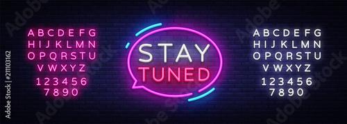 Vászonkép Stay Tuned neon signs vector
