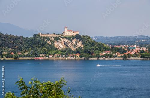 Fotografering  View of Rocca Borromea in Angera town, Angera, Maggiore Lake, Varese, Lombardy, Italy