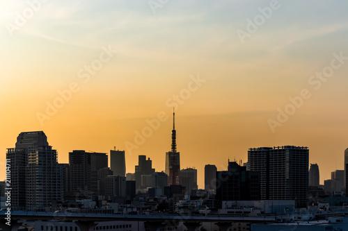 Poster Chicago (東京都ー都市風景)東京港区芝方面の夕景1