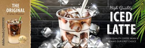 Fotografie, Obraz  Iced latte banner ads