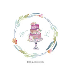 Watercolor Holiday Wedding Cak...