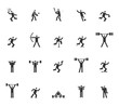 Vector of square headed man sports set icon, football, basketball, tennis, baseball, skating, athletic, gym, gymnasium, body building, exercise, training, workout, sign, symbol pictogram icons set ill
