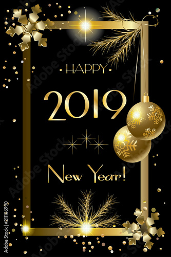 2019 happy new year event invitation christmas festival card frame decorative elements gold confetti