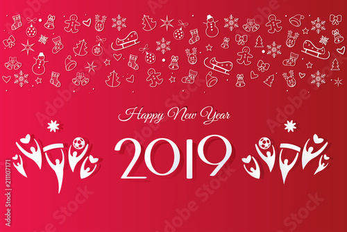 2019 happy new year event invitation fireworks festival modern decorative elements fan people