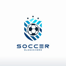 Football Badge With Shield Logo Designs, Modern Soccer Badge Logo Template