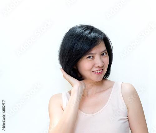 Beautiful smiling Asian women with clean skin, natural make ...