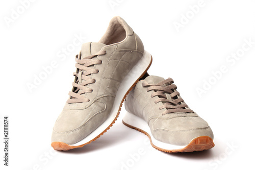 Fotomural  men's sneakers isolated on white. men's footwear.