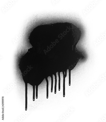 Black color spray paint or graffiti design element on a white background