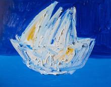 Ship At Sea. Abstract Textured Acrylic Painting