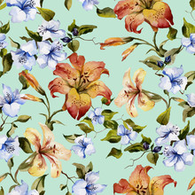 Beautiful Tiger Lilies And Small Blue Flowers On Twigs Against Light Blue Background. Seamless Floral Pattern. Watercolor Painting. Hand Painted Illustration.