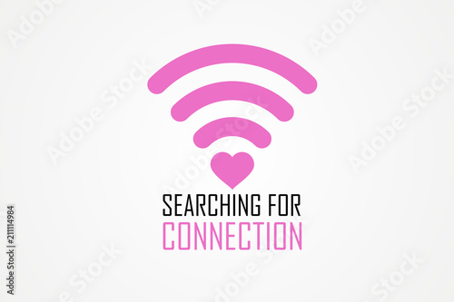 Fotografia  Searching for connection slogan text simple flat style illustration