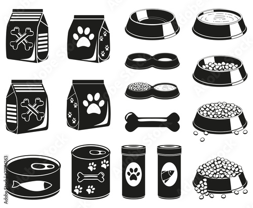 16 black and white pet food silhouette elements Wall mural
