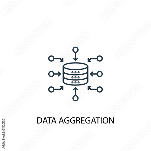 Data Aggregation concept line icon. Simple element illustration Canvas Print