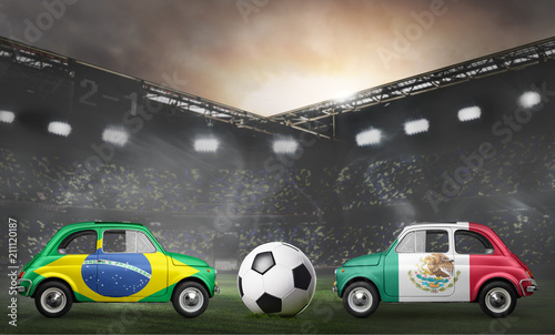 Papiers peints Inde Brazil and Mexico flags on cars with soccer or football ball at stadium