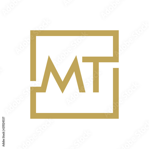 two letter logo line square ma to mz
