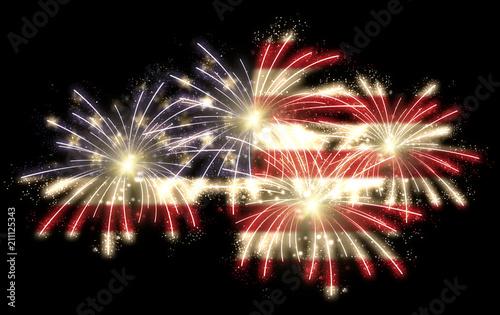 Obraz 4th of july fireworks with american flag overlay on black background, horizontal version - fototapety do salonu