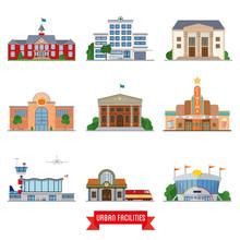 Urban Facilities And Public Buildings Vector Icon Set