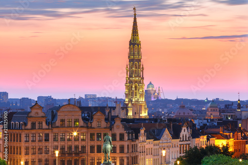 Foto op Canvas Historisch geb. Brussels City Hall and Mont des Arts area at sunset in Belgium, Brussels.