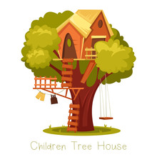 Children Wooden House On Oak. Tree With Ladder And Kid Tree-house.