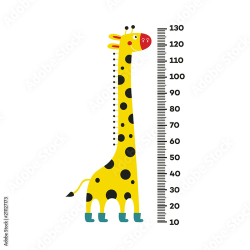 Fotografía  Giraffe cartoon character with long neck in boots standing next to scale from 10 to 130 centimeter isolated on white background