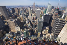 View Of New York City As Seen From The Rockefeller Center Observation Deck, New York City, USA