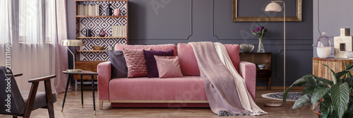 Fotografie, Obraz  Powder pink velvet couch with decorative pillows and two blankets standing in da