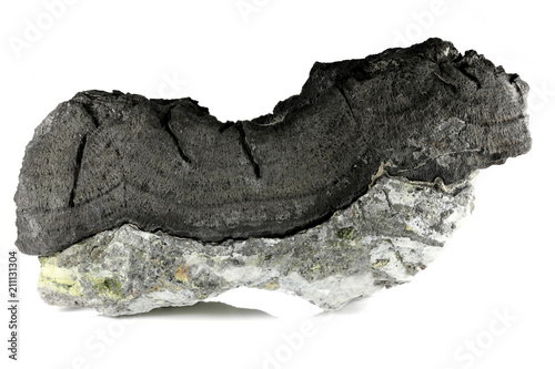 Photo native arsenic on barite from Oberschlema/ Ore Mountains, Germany isolated on wh
