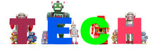 Retro Tin Robot Toys Hold Up The Word  TECH Isolated