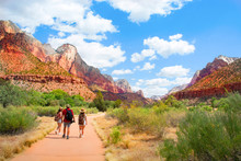 Family On Hiking Trip In The Mountains Walking On Pathway. Zion National Park, Utah, USA