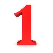 1 Number One Red 3d Isolated