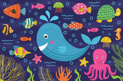 Plakat  marine animals in the sea -  vector illustration, eps