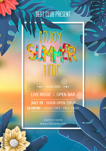 Summer Party Invitation Template Pool And Beach
