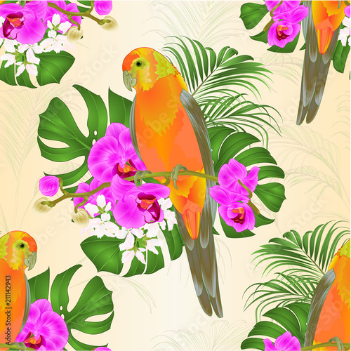 Fotobehang Papegaai Seamless texture Sun Conure Parrot tropical bird standing on a purple orchid Phalaenopsis and palm, phiodendron background vector illustration editable hand draw
