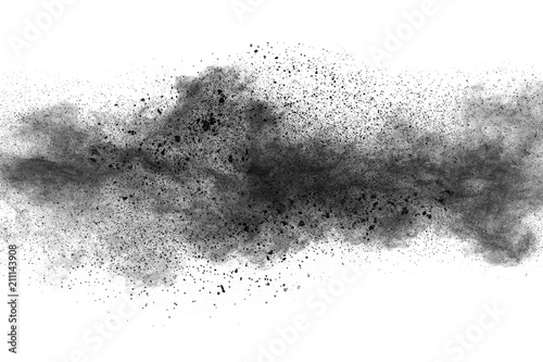Black powder explosion against white background Fototapet