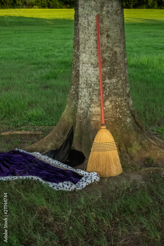 Photo Witch's hat, cape and broom in a parking lot at a local park.