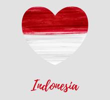 Indones Brushed Flag In Heart Shape
