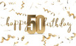 canvas print picture Happy 50th birthday gold greeting background. 3D Rendering