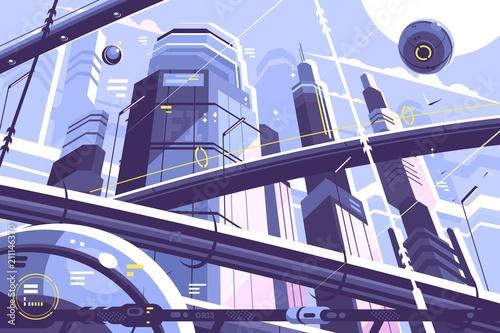 City metropolis of future Fotobehang