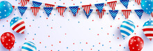 4th Of July Blackguards Template.USA Independence Day Celebration With Balloons And Garland Of American Triangle Flag.USA 4th Of July Promotion Advertising Banner Template For Brochures Or Poster