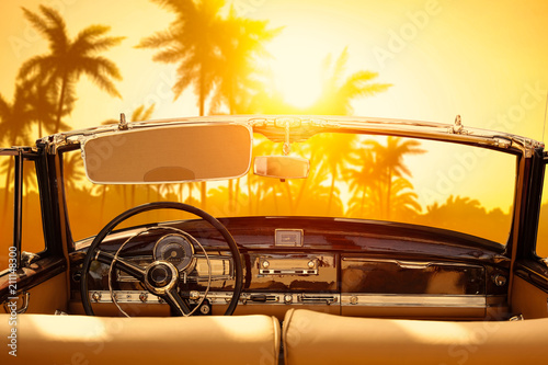 Summer car and sunset time Wallpaper Mural
