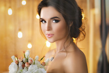 Happy And Beautiful Bride With...