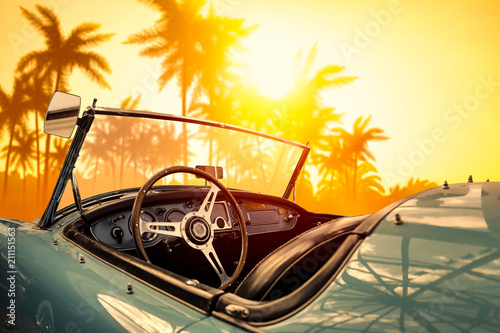 Spoed Foto op Canvas Palm boom Summer car and sunset time