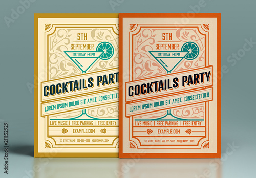 Retro Style Cocktail Party Invitation Layout Acheter Ce Template