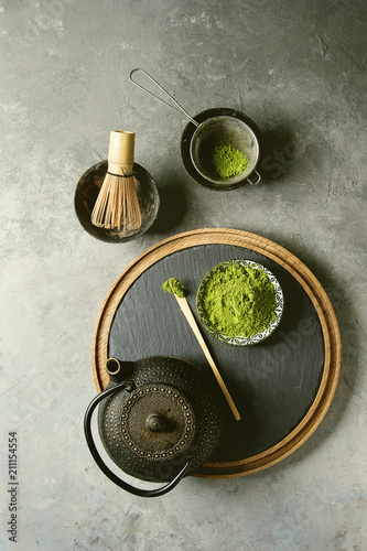 Photo  Ingredients for making matcha drink