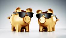 Goldene Sparschweine Mit Sonne...