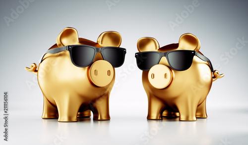 Fotomural Goldene Sparschweine mit Sonnenbrille