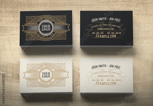 Vintage Style Business Card Layout Buy This Stock Template And